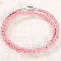 Fonott karkötő, bőr, rózsaszín, ezüst kapoccsal, 40 cm