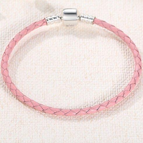 Fonott karkötő, bőr, rózsaszín, ezüst kapoccsal, 20 cm