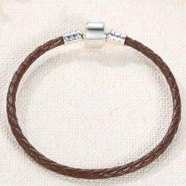 Fonott karkötő, bőr, barna, ezüst kapoccsal, 18 cm
