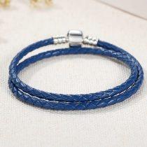 Fonott karkötő, bőr, kék, ezüst kapoccsal, 36 cm