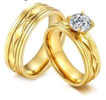 Férfi jegygyűrű, karikagyűrű, rozsdamentes acél, arany színű, 11-es méret