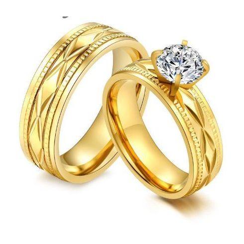 Férfi karikagyűrű, nemesacél, arany színű, 11-es méret