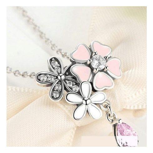 Ezüst nyaklánc cseresznyevirággal, ezüst - rózsaszín (Pandora stílus)