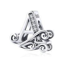 Ezüst A betű medál cirkónium kristállyal