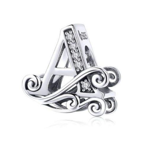 Ezüst A betű charm cirkónium kristállyal