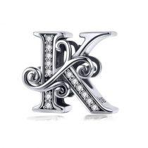 Ezüst K betű medál cirkónium kristállyal