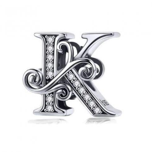 Ezüst K betű charm cirkónium kristállyal -  Pandora stílus