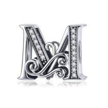 Ezüst M betű medál cirkónium kristállyal