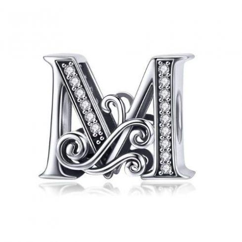 Ezüst M betű charm cirkónium kristállyal -  Pandora stílus