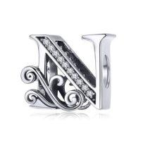 Ezüst N betű medál cirkónium kristállyal