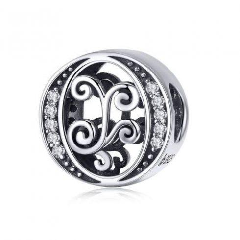 Ezüst O betű charm cirkónium kristállyal -  Pandora stílus