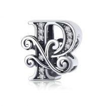 Ezüst P betű medál cirkónium kristállyal