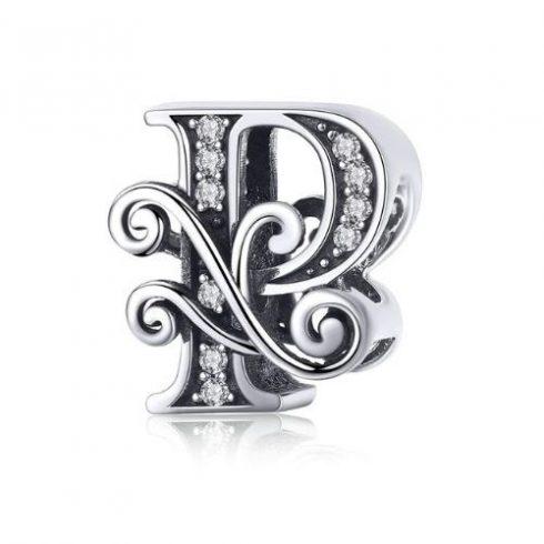 Ezüst P betű charm cirkónium kristállyal