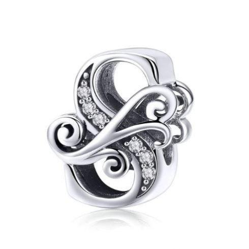 Ezüst S betű charm cirkónium kristállyal -  Pandora stílus