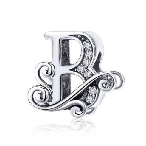 Ezüst B betű charm cirkónium kristállyal -  Pandora stílus