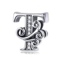 Ezüst T betű medál cirkónium kristállyal