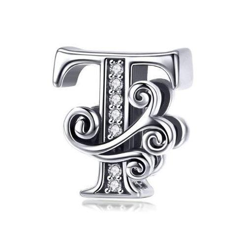 Ezüst T betű charm cirkónium kristállyal -  Pandora stílus
