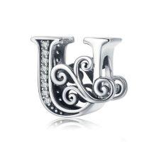 Ezüst U betű medál cirkónium kristállyal