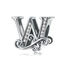 Ezüst W betű medál cirkónium kristállyal