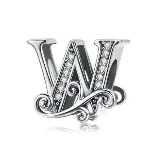 Ezüst W betű charm cirkónium kristállyal