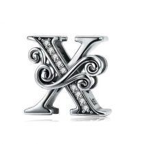 Ezüst X betű medál cirkónium kristállyal
