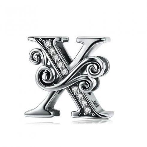 Ezüst X betű charm cirkónium kristállyal -  Pandora stílus