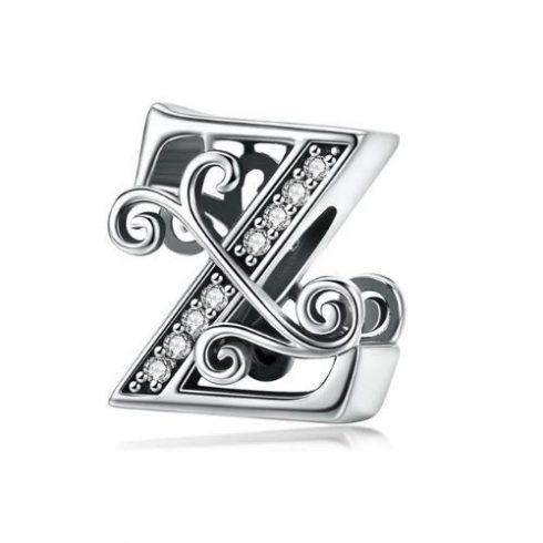 Ezüst Z betű charm cirkónium kristállyal