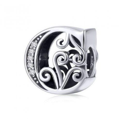 Ezüst C betű charm cirkónium kristállyal -  Pandora stílus