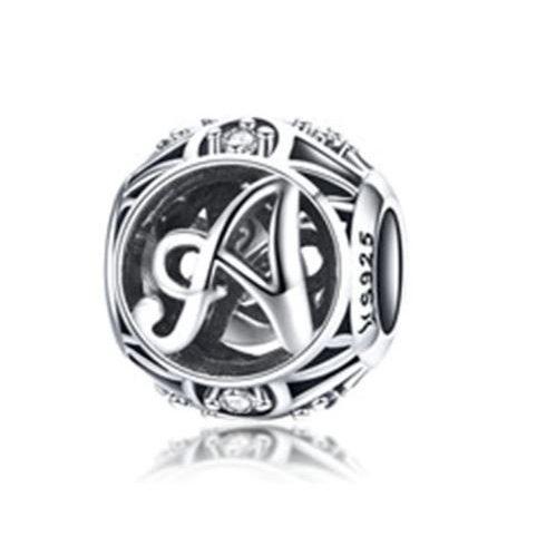 Ezüst A betű charm kristályokkal -  Pandora stílus