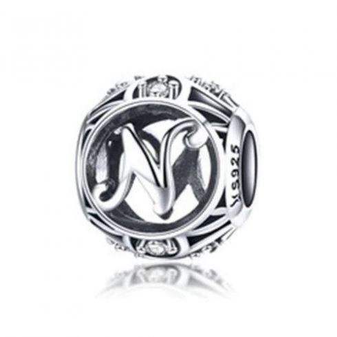 Ezüst N betű charm kristályokkal -  Pandora stílus