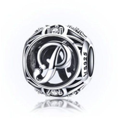 Ezüst P betű charm kristályokkal