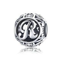 Ezüst R betű medál kristályokkal