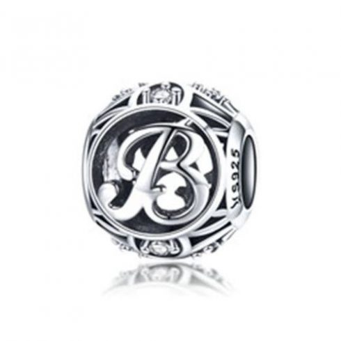 Ezüst B betű charm kristályokkal