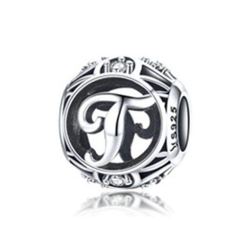 Ezüst T betű charm kristályokkal
