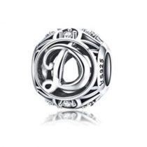 Ezüst D betű medál kristályokkal