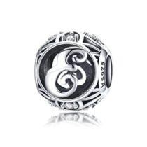 Ezüst E betű medál kristályokkal