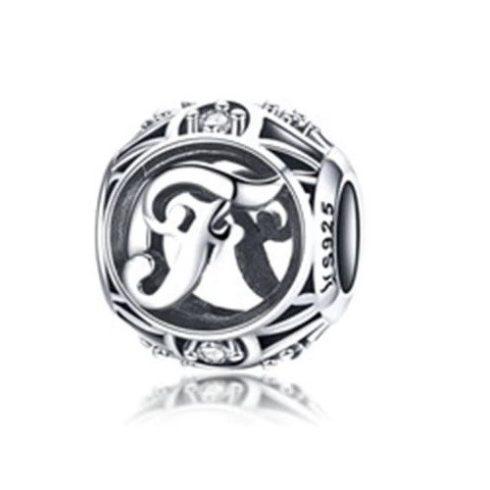 Ezüst F betű charm kristályokkal -  Pandora stílus