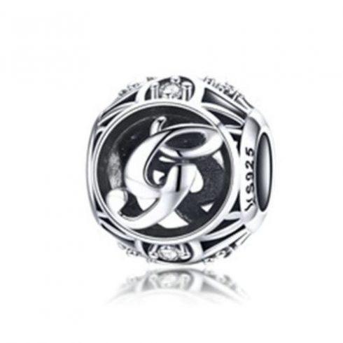 Ezüst G betű charm kristályokkal -  Pandora stílus