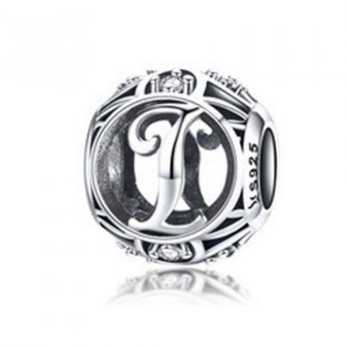 Ezüst I betű charm kristályokkal -  Pandora stílus