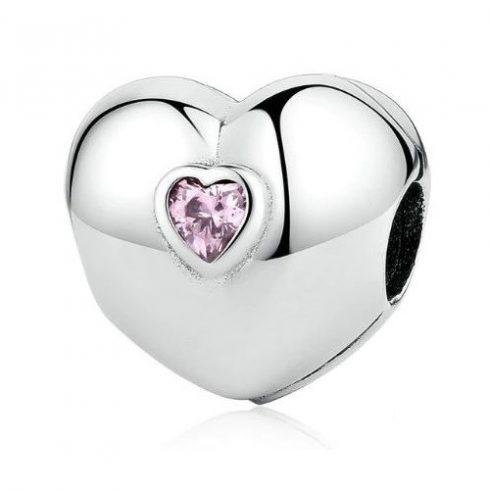 Ezüst szív gyöngy rózsaszín kristályokkal -  Pandora stílus