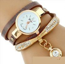 Strasszal díszített női karkötő-óra, barna