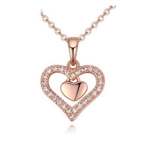 Dupla szív nyaklánc, Rose Gold