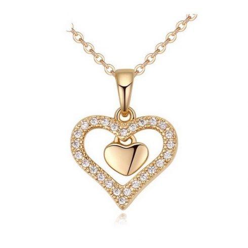 Dupla szív nyaklánc, Pezsgő arany