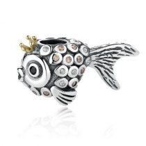 Ezüst halacska gyöngy kristálykövekkel
