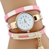 Csíkos pántos női karkötő-óra, pink