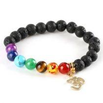Meditációs karkötő fekete lávakő gyöngyökkel, OM jellel
