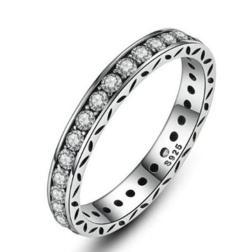 Ezüst gyűrű cirkónium kövekkel, 8-as méret (Pandora stílus)