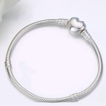 48ac5c7eec Egyszerű, szívmotívumos ezüst karperec, 17 cm (Pandora stílus ...