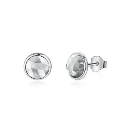 Ezüst fülbevaló, cirkónium kristállyal, fehér (Pandora stílus)