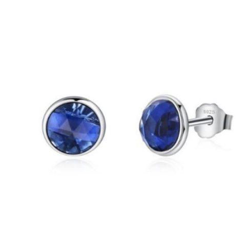 Ezüst fülbevaló, cirkónium kristállyal, kék